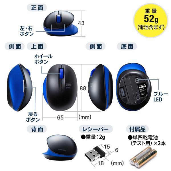 ワイヤレス マウス エルゴノミクス 疲労軽減 小型 コンパクト 4ボタン(即納)|sanwadirect|14