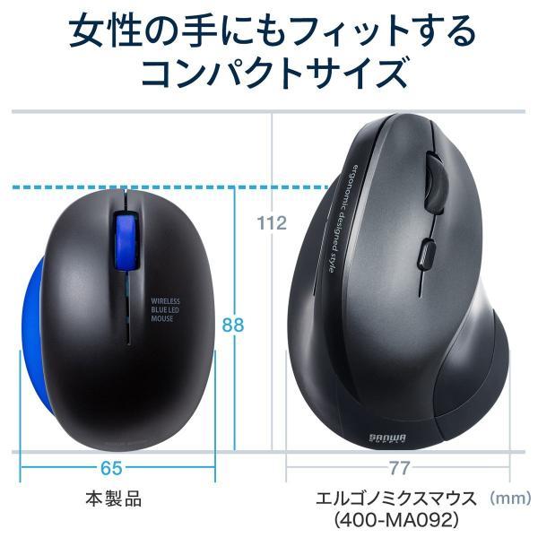 ワイヤレス マウス エルゴノミクス 疲労軽減 小型 コンパクト 4ボタン(即納)|sanwadirect|03