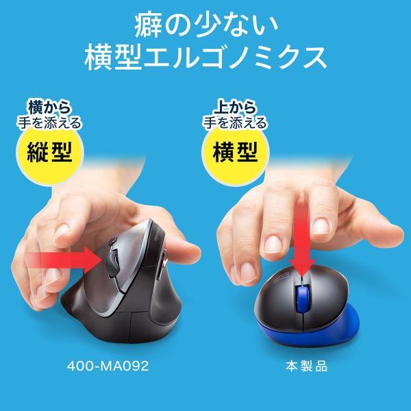 ワイヤレス マウス エルゴノミクス 疲労軽減 小型 コンパクト 4ボタン(即納)|sanwadirect|08