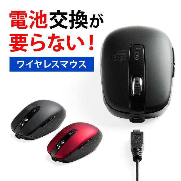 ワイヤレスマウス 無線 充電式 電池交換不要  ブルーLED(即納) sanwadirect