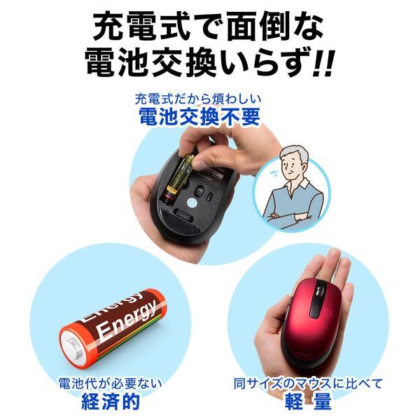 ワイヤレスマウス 無線 充電式 電池交換不要  ブルーLED(即納) sanwadirect 03