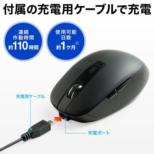 ワイヤレスマウス 無線 充電式 電池交換不要  ブルーLED(即納) sanwadirect 04