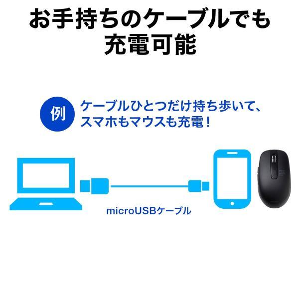 ワイヤレスマウス 無線 充電式 電池交換不要  ブルーLED(即納) sanwadirect 07