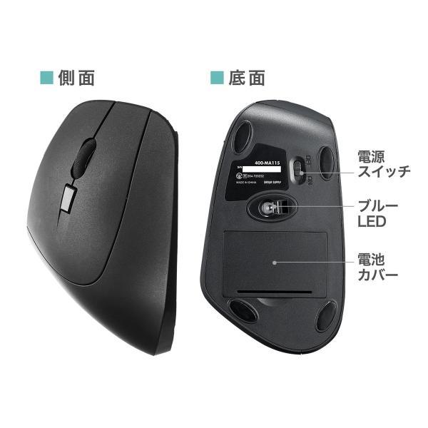 エルゴノミクスマウス ワイヤレスマウス 無線 エルゴ 2.4Ghz 6ボタン(即納)|sanwadirect|11