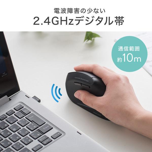 エルゴノミクスマウス ワイヤレスマウス 無線 エルゴ 2.4Ghz 6ボタン(即納)|sanwadirect|07