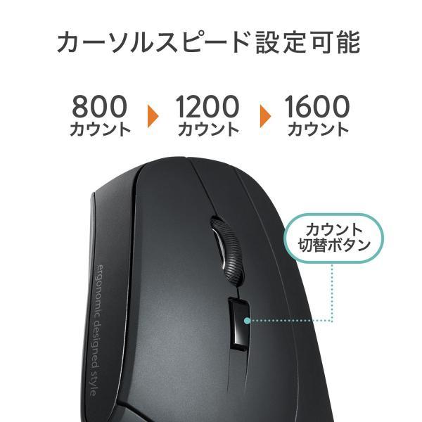 エルゴノミクスマウス ワイヤレスマウス 無線 エルゴ 2.4Ghz 6ボタン(即納)|sanwadirect|08