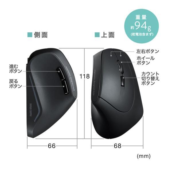 エルゴノミクスマウス ワイヤレスマウス 無線 エルゴ 2.4Ghz 6ボタン(即納)|sanwadirect|10