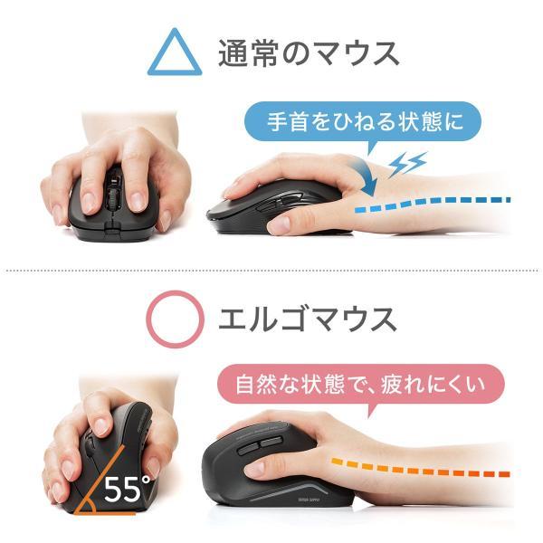エルゴノミクスマウス Bluetooth ブルートゥース エルゴ 無線  6ボタン|sanwadirect|03