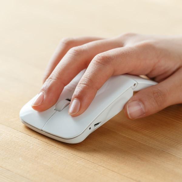 ワイヤレスマウス ブルートゥース 充電式 マルチペアリング 薄型 折りたたみ 3ボタン Bluetooth|sanwadirect|19