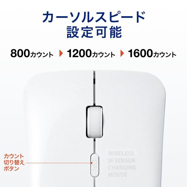 ワイヤレスマウス 充電式 薄型 折りたたみ 3ボタン|sanwadirect|13