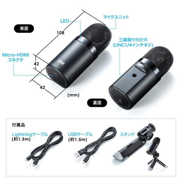 USB マイク iPhoneマイク 録音 レコーディング 高音質 ハイレゾ マイクロフォン(即納)|sanwadirect|15