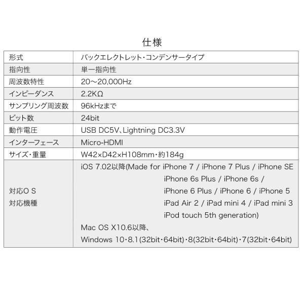 USB マイク iPhoneマイク 録音 レコーディング 高音質 ハイレゾ マイクロフォン(即納)|sanwadirect|16