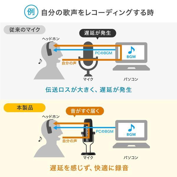 USBマイク 高音質 ハイレゾ録音 PC パソコン マイクロフォン(即納)|sanwadirect|04