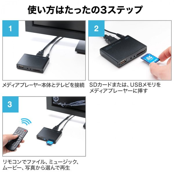 メディアプレーヤー HDMI USBメモリ SDカード メディアプレイヤー|sanwadirect|04