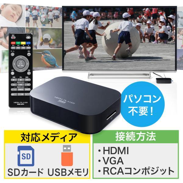 メディアプレーヤー テレビ再生 SDカード USBメモリ 動画 写真 音楽(即納)|sanwadirect
