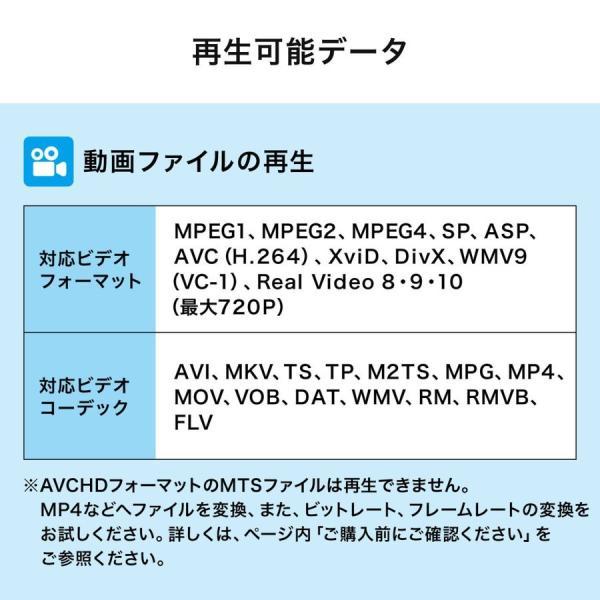 メディアプレーヤー テレビ再生 SDカード USBメモリ 動画 写真 音楽(即納)|sanwadirect|04