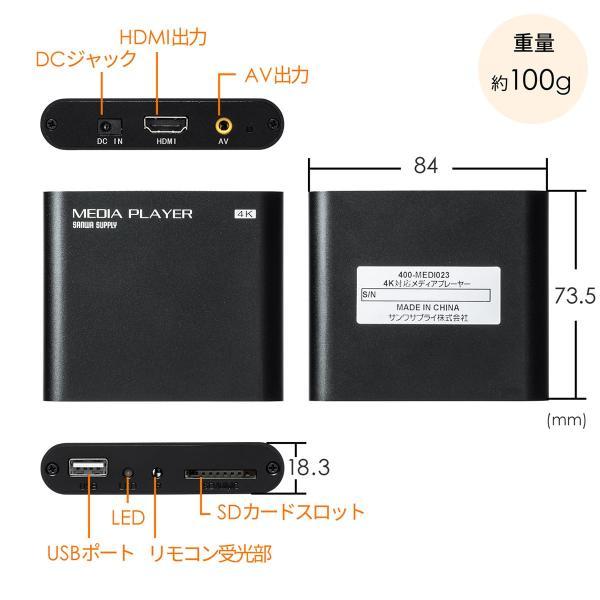 メディアプレーヤー HDMI USBメモリ SDカード メディアプレイヤー 4K対応(即納) sanwadirect 15