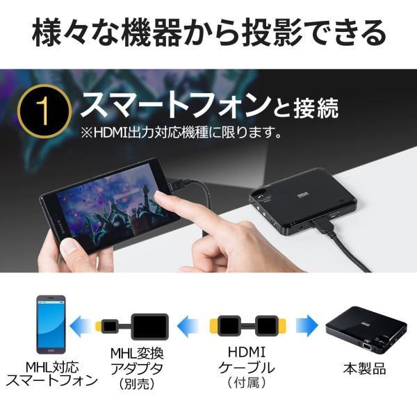 プロジェクター 小型 ポータブル HDMI モバイル ポータブル 家庭用(即納)|sanwadirect|03