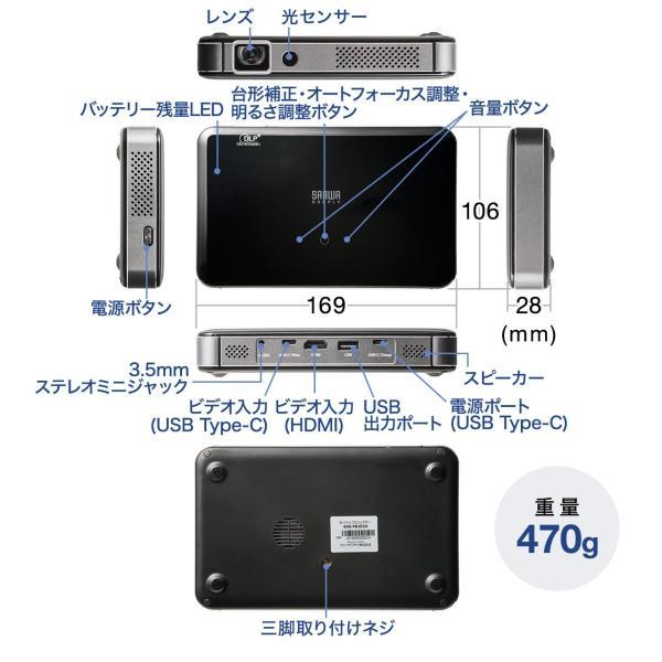 プロジェクター 小型 ポータブル HDMI USB Type-C・HDMI搭載 モバイル コンパクト ミニプロジェクター|sanwadirect|17