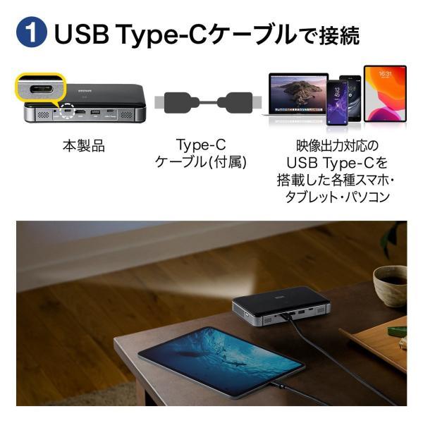 プロジェクター 小型 ポータブル HDMI USB Type-C・HDMI搭載 モバイル コンパクト ミニプロジェクター|sanwadirect|06