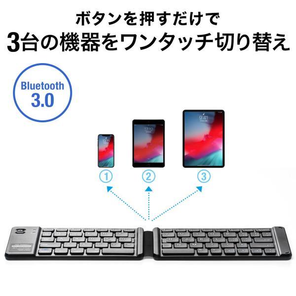 折りたたみキーボード ワイヤレス Bluetooth ブルートゥース 無線 iPhone(即納)|sanwadirect|05