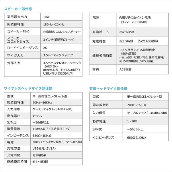 拡声器 ハンズフリー ワイヤレス 小型 ポータブル マイク ハンド フリー 手ぶら 2人同時対応(即納) sanwadirect 18