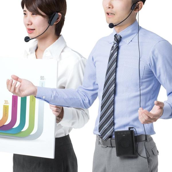 拡声器 ハンズフリー ワイヤレス 小型 ポータブル マイク ハンド フリー 手ぶら 2人同時対応(即納) sanwadirect 19