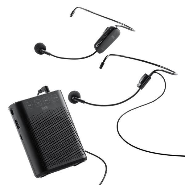 拡声器 ハンズフリー ワイヤレス 小型 ポータブル マイク ハンド フリー 手ぶら 2人同時対応(即納) sanwadirect 20