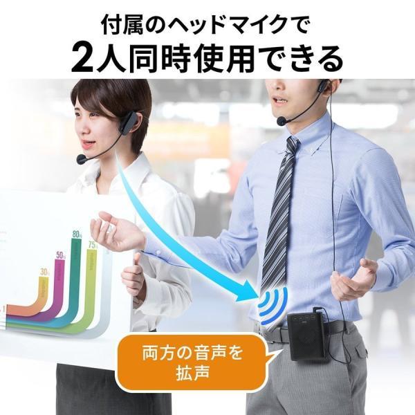 拡声器 ハンズフリー ワイヤレス 小型 ポータブル マイク ハンド フリー 手ぶら 2人同時対応(即納) sanwadirect 06