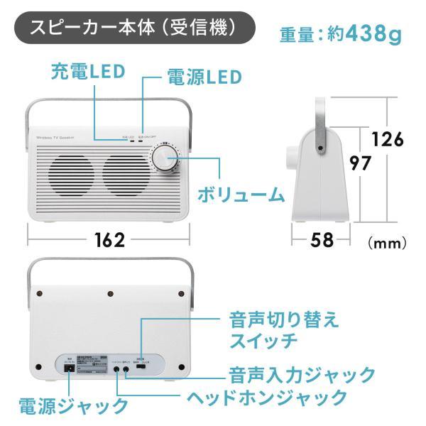 テレビスピーカー 手元スピーカー 耳元 ワイヤレス テレビ用 TV 充電式 高齢者の方(即納)|sanwadirect|15