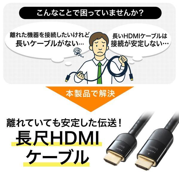 HDMIケーブル 15m 4K対応 長尺 イコライザ内蔵 4K/60Hz 18Gbps伝送対応 HDMI2.0準拠品(即納) sanwadirect 02