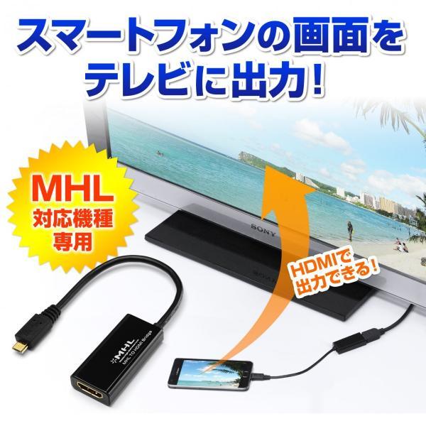 MHL HDMI 変換アダプタ ケーブル スマホの画面をテレビに映せる|sanwadirect|02