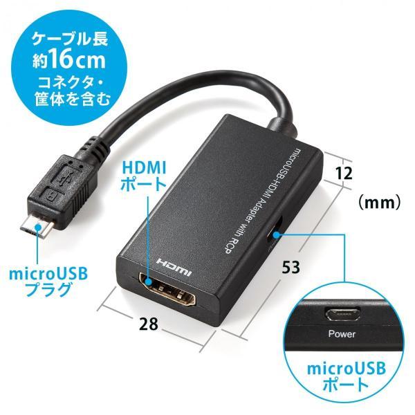 MHL HDMI 変換アダプタ ケーブル リモコン対応(即納)|sanwadirect|06