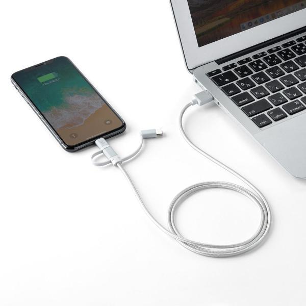 充電ケーブル iPhone スマホ 充電 タイプC マイクロUSB Type-C Lightning microUSB (即納)|sanwadirect|13