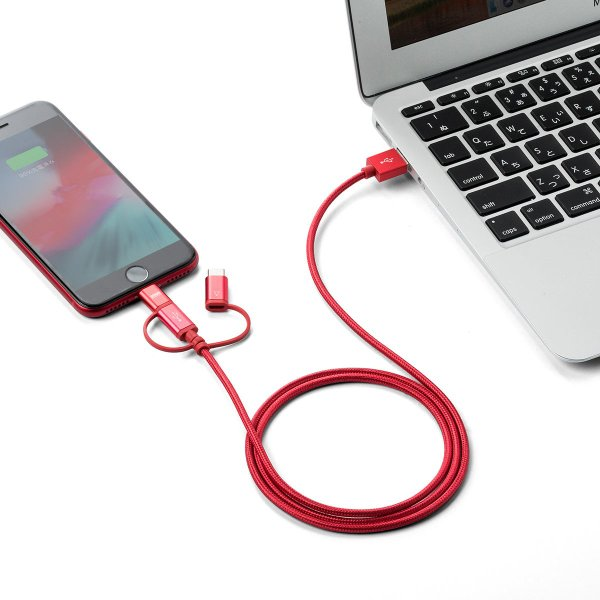 iPhone 充電ケーブル Lightning microUSB Type-C 3in1 USB 通信(即納)|sanwadirect|19