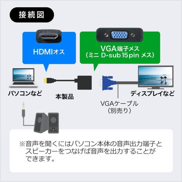 HDMI VGA 変換 アダプタ フルHD 1080P 対応 15cm(即納)|sanwadirect|03
