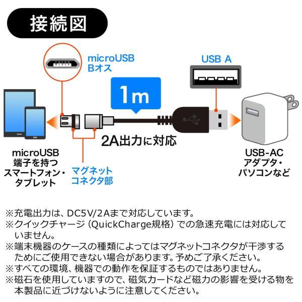 マグネット 充電ケーブル マイクロUSB スマホ 充電 micro USBケーブル(即納)|sanwadirect|08