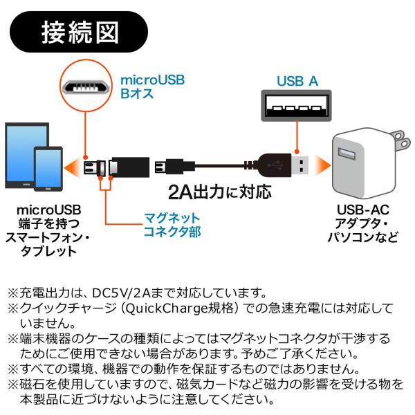 micro USB 充電 アダプター マグネット 着脱 式 スマートフォン マグネット 変換 アダプタ 2A 充電(即納) sanwadirect 07