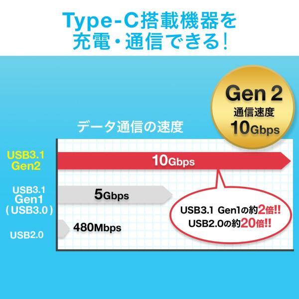 Type-C USB ケーブル USB TypeC ケーブル タイプc 充電ケーブル 50cm 0.5m Gen2(即納)|sanwadirect|02