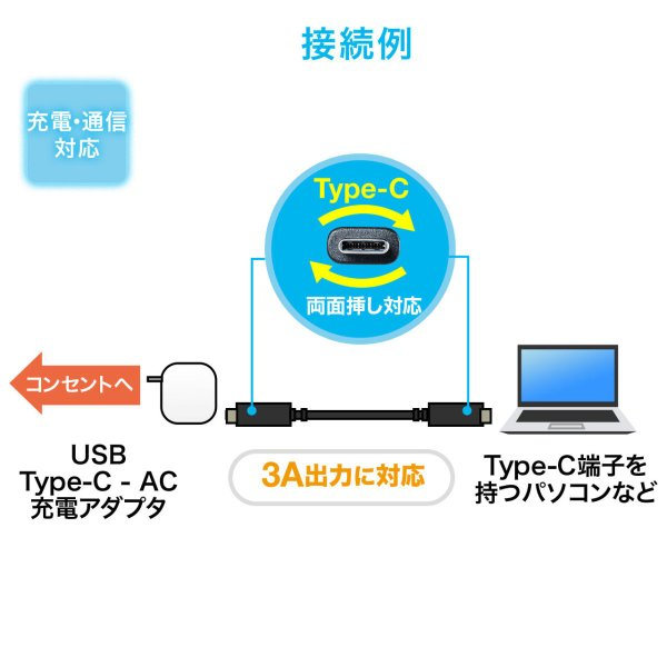 Type-C USB ケーブル USB TypeC ケーブル タイプc 充電ケーブル 1m Gen2(即納)|sanwadirect|03