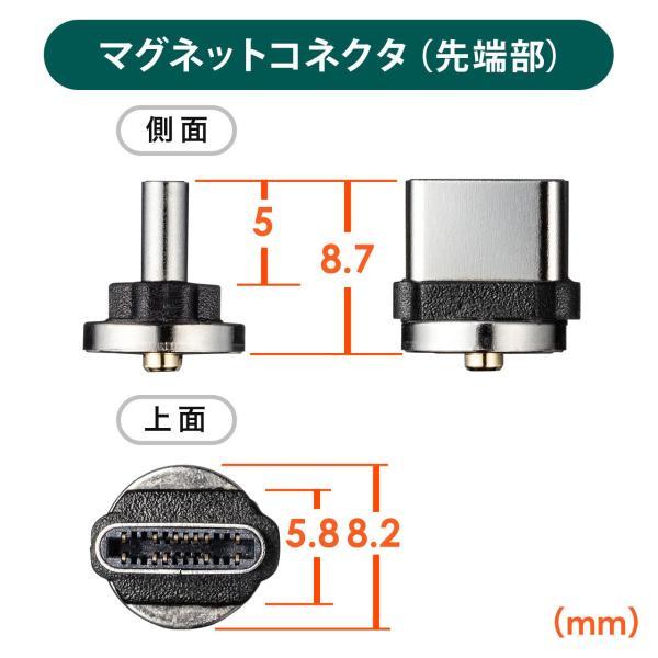 充電ケーブル 急速充電 マグネット アンドロイド Android スマホ 充電 Type-c ケーブル USBケーブル LED付き 1m(即納) sanwadirect 12