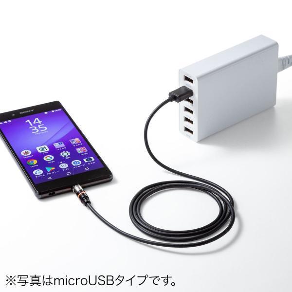 充電ケーブル 急速充電 マグネット アンドロイド Android スマホ 充電 Type-c ケーブル USBケーブル LED付き 1m(即納) sanwadirect 15
