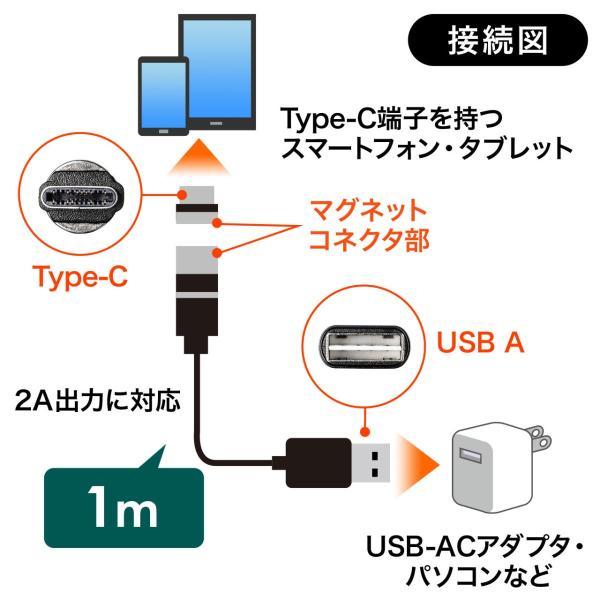 充電ケーブル 急速充電 マグネット アンドロイド Android スマホ 充電 Type-c ケーブル USBケーブル LED付き 1m(即納) sanwadirect 10