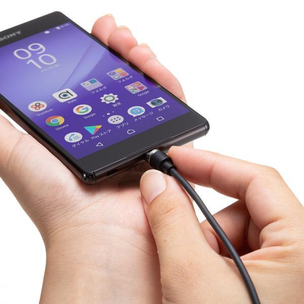 【2本セット】充電ケーブル マグネット式 アンドロイド Android スマホ 充電器 マイクロUSB micro USBケーブル 急速充電 通信 1m(即納) sanwadirect 12