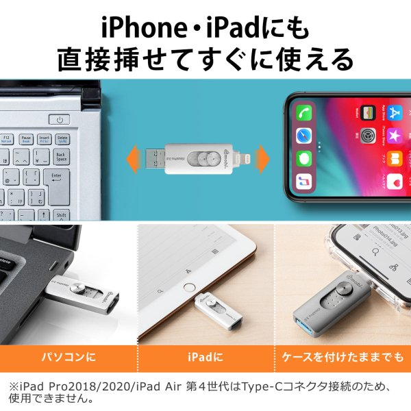 iPhone USBメモリ iPad 128GB Lightning MFi認証 バックアップ データ転送 iStickPro|sanwadirect|02