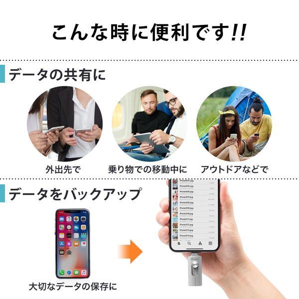iPhone USBメモリ iPad 128GB Lightning MFi認証 バックアップ データ転送 iStickPro|sanwadirect|03