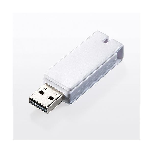 USBメモリ 16GB 紛失防止 ストラップ付き キャップレス ホワイト(即納) sanwadirect 08
