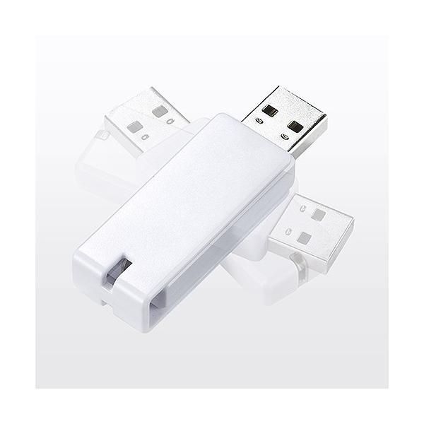 USBメモリ 16GB 紛失防止 ストラップ付き キャップレス ホワイト(即納) sanwadirect 05