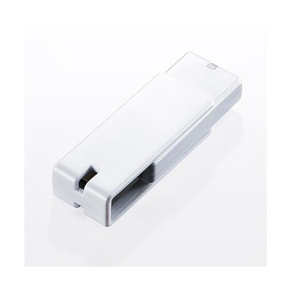 USBメモリ 16GB 紛失防止 ストラップ付き キャップレス ホワイト(即納) sanwadirect 06