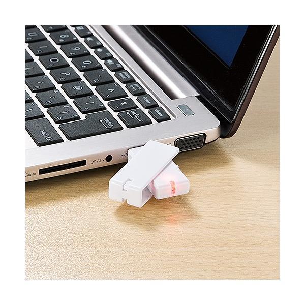 USBメモリ 4GB 紛失防止 ストラップ付き キャップレス ホワイト(即納)|sanwadirect|10